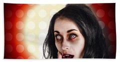 Dark Portrait Of A Zombie Girl In Shock Horror Beach Towel