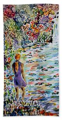 Beach Sheet featuring the painting Daughter Of The River by Alfred Motzer