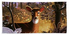 Deer In The Forest Beach Towel