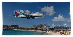 Delta Air Lines Landing At St Maarten Beach Towel by David Gleeson