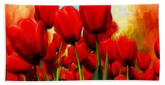Devotion To One's Love- Red Tulips Painting Beach Towel
