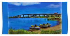 Beach Towel featuring the painting Do You Sea Doo by Deborah Boyd