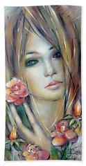 Doll With Roses 010111 Beach Towel