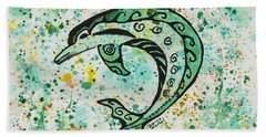 Beach Sheet featuring the painting Dolphin 2 by Darice Machel McGuire
