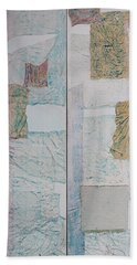 Beach Towel featuring the sculpture Double Doors Of Unfinished Projects In Blue  by Asha Carolyn Young