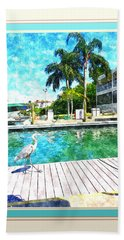 Dry Dock Bird Walk - Digitally Framed Beach Sheet by Susan Molnar