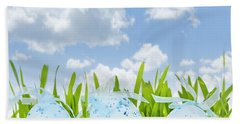 Easter Eggs In Green Grass Beach Towel