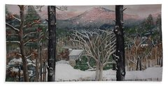 Beach Towel featuring the painting Ellijay - Pink Knob Mountain - Signed by Jan Dappen