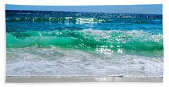 Beach Sheet featuring the photograph Emerald Curl by Linda Mesibov