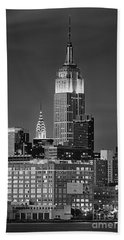 Empire And Chrysler Buildings Beach Sheet by Jerry Fornarotto