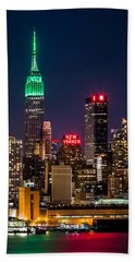 Empire State Building On Saint Patrick's Day Beach Sheet