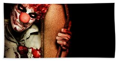 Evil Horrible Clown Holding Coffin In Darkness Beach Towel