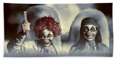 Evil Zombie Clown Doctors Rising From The Dead Beach Towel