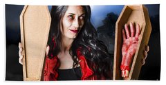 Female Halloween Zombie Holding Undead Hand Beach Towel