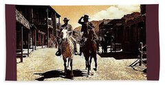Film Homage Mark Slade Cameron Mitchell Riding Horses The High Chaparral Old Tucson Az C.1967-2013 Beach Towel