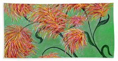 Beach Towel featuring the painting Fireworks by Alys Caviness-Gober