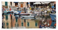 fishing boats in Camogli  Beach Towel