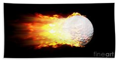 Flame Golf Ball Beach Towel