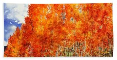 Beach Sheet featuring the painting Flaming Aspens 2 by Barbara Jewell