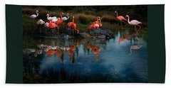 Beach Towel featuring the photograph Flamingo Convention by Melinda Hughes-Berland