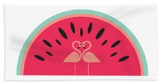 Flamingo Watermelon Beach Towel by Susan Claire