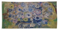 Beach Towel featuring the painting Flow Bleu by Laurie L