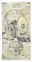 1927 Football Helmet Patent Beach Towel