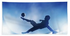 Football Soccer Match A Player Shooting On Goal Beach Towel by Michal Bednarek