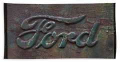 Detail Old Rusty Ford Pickup Truck Emblem Beach Sheet