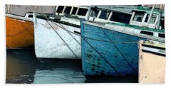 Four Boats In Blue Beach Towel