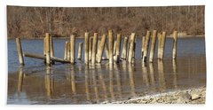 Beach Towel featuring the photograph Frozen Pilings by Michael Porchik