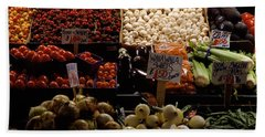 Fruits And Vegetables At A Market Beach Sheet by Panoramic Images