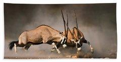 Gemsbok Fight Beach Towel