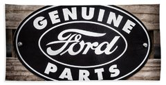 Genuine Ford Parts Sign Beach Towel