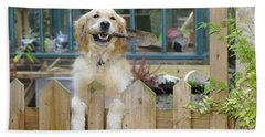 Golden Retriever Gardening Beach Towel
