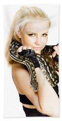 Gorgeous Blonde Snake Handler Beach Towel