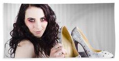 Gorgeous Retail Fashion Girl Selling Luxury Shoes  Beach Towel