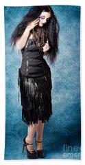 Gothic Female Fashion Model. Elegant Black Outfit Beach Towel
