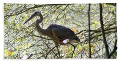 Beach Towel featuring the photograph Great Blue Heron In Bushes by Karen Silvestri