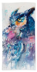 Great Horned Owl Beach Towel by Kovacs Anna Brigitta