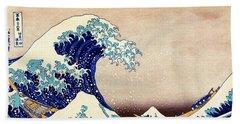 Great Wave Off Kanagawa Beach Sheet by Katsushika Hokusai