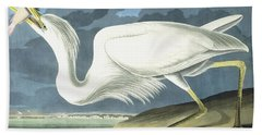 Great White Heron Beach Towel by John James Audubon