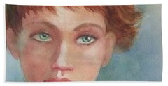 Green Eyes Beach Sheet by Marilyn Jacobson