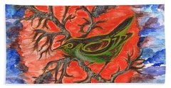 Beach Sheet featuring the painting Green Warbler by Teresa White