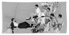 Group Of Men Sunbathing Beach Towel