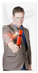 Hostile Male Office Worker Holding Flaming Bomb Beach Towel