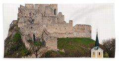 Beach Sheet featuring the photograph Hrad Beckov - Castle by Les Palenik