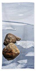 Icy Shore In Winter Beach Towel