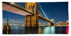 Illuminated Brooklyn Bridge By Night Beach Sheet