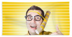 Inventive Man With Innovative Handmade Phone Beach Towel